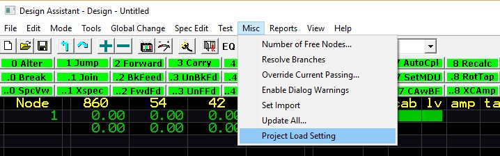 Project Load Setting